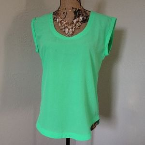 J. Crew Cap Sleeve Bright Lime Green Blouse Size 4